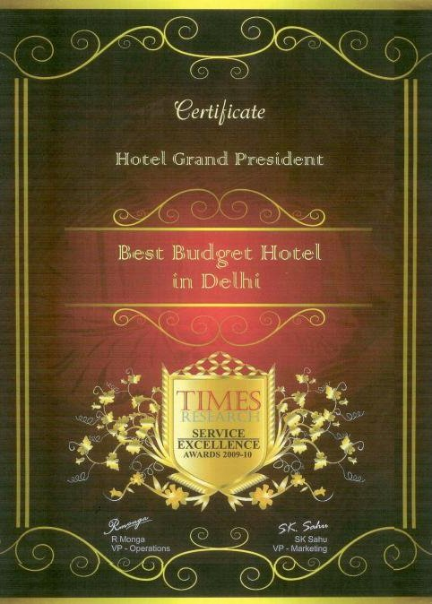Best Budget Hotel of Delhi Certificate